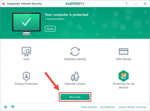 Kaspersky avis - interface