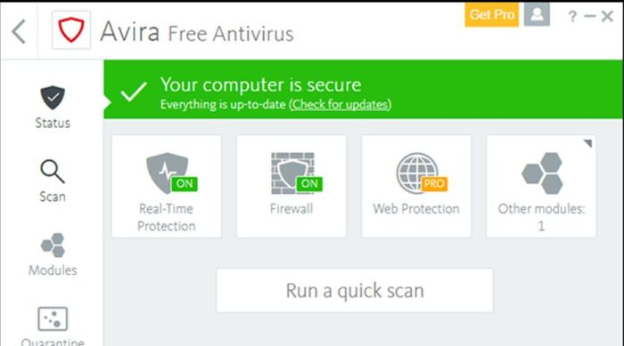 Avira avis antivirus interface